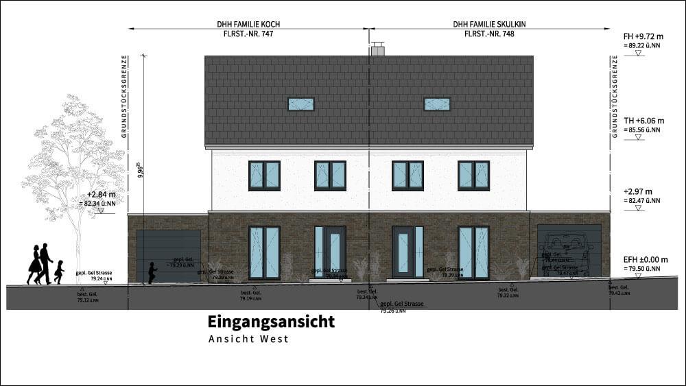 Bau von zwei Doppelhaushälften in Waltrop