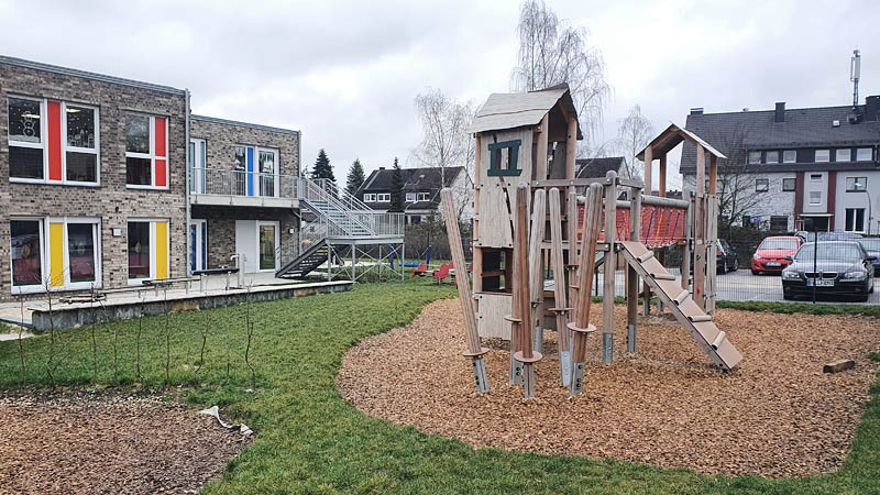 Spielplatzansicht Neubau Kindertagesstätte in Castrop-Rauxel
